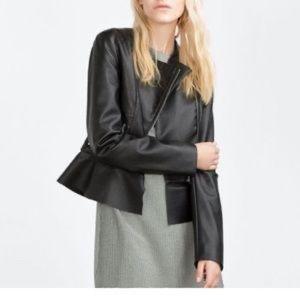 Brand New Zara Faux Leather Peplum Coat